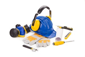 Work equipment: safety helmet, gloves and respirator and small tools
